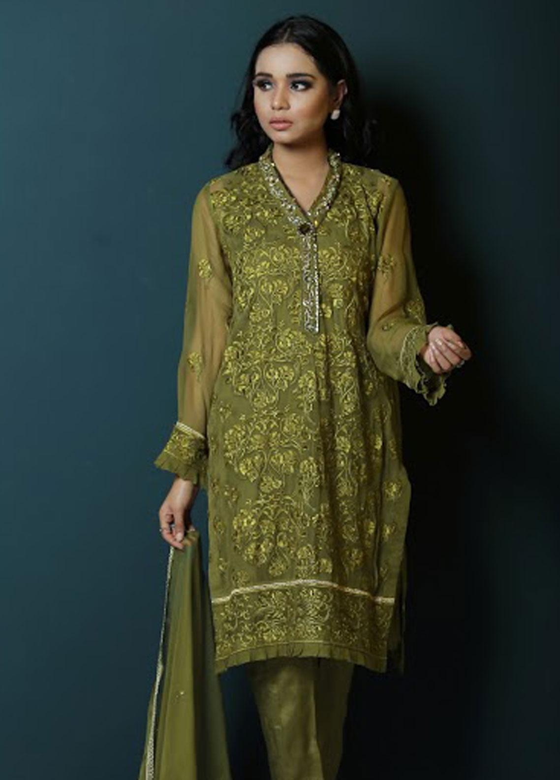 Asma Emran Embroidered Chiffon Stitched 3 Piece Suit EP-002 Olive Green