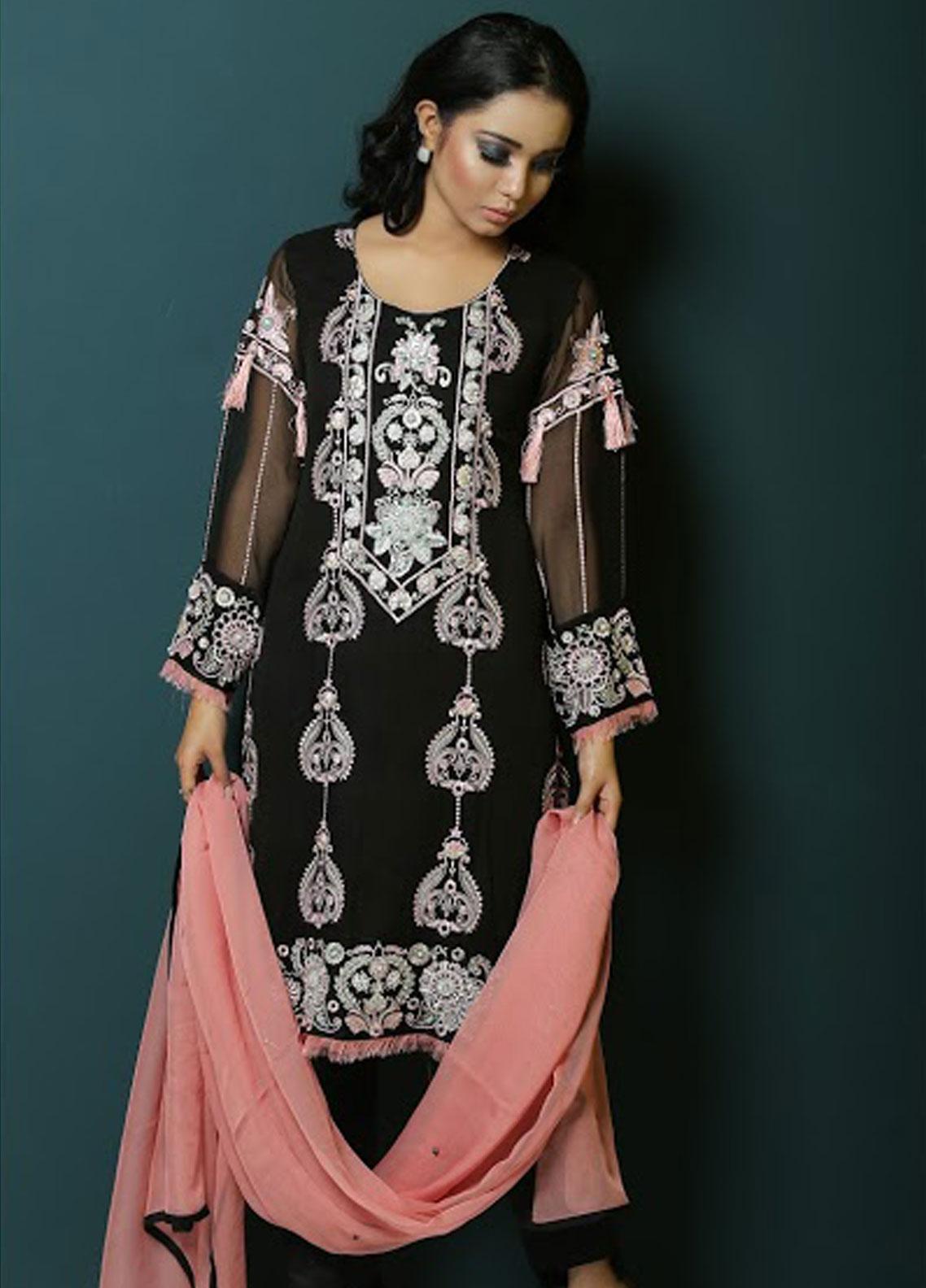 Asma Emran Embroidered Chiffon Stitched 3 Piece Suit EP-003 Kashmiri Win Over