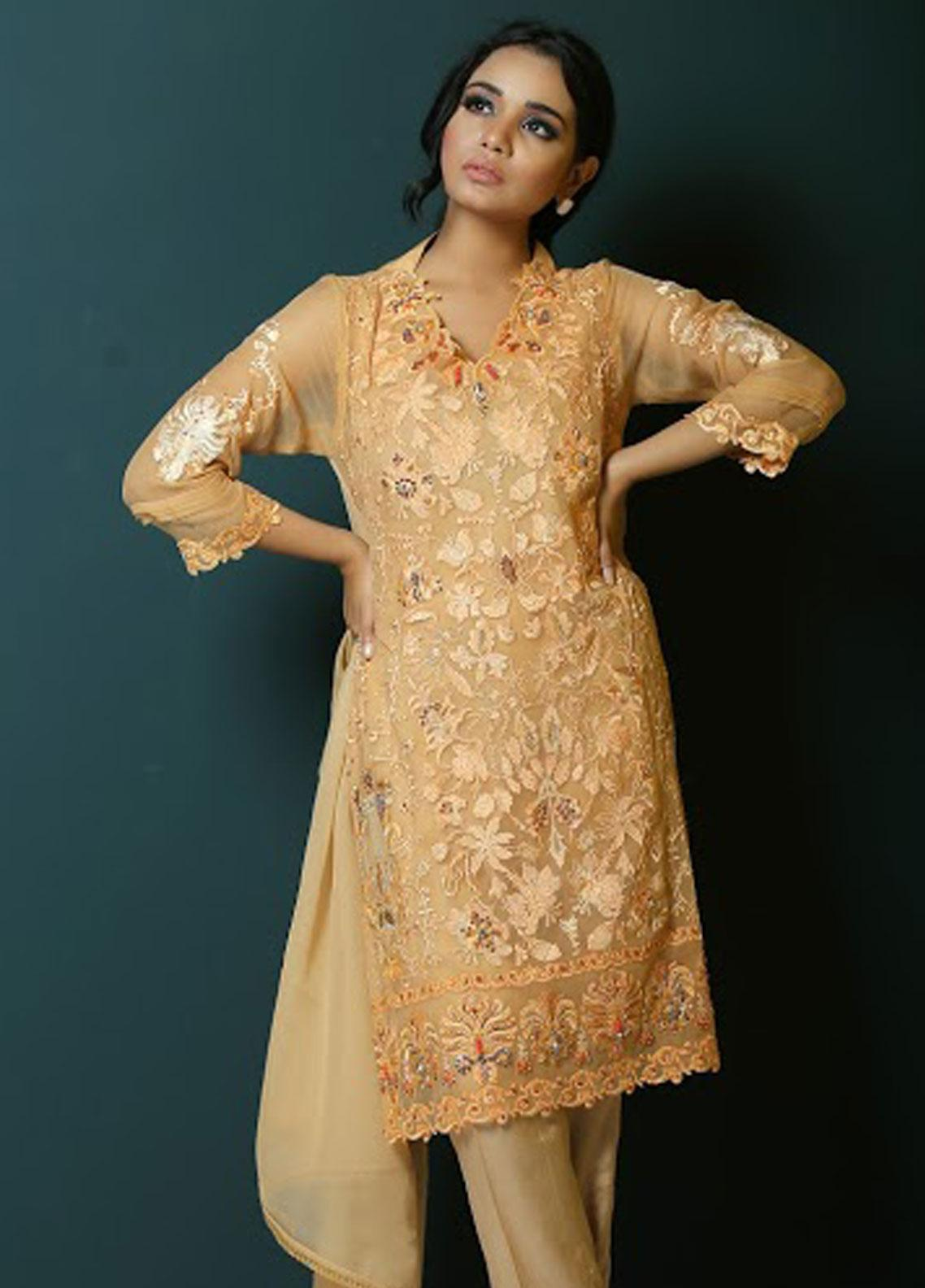 Asma Emran Embroidered Chiffon Stitched 3 Piece Suit EP-007 Orchard Blossom