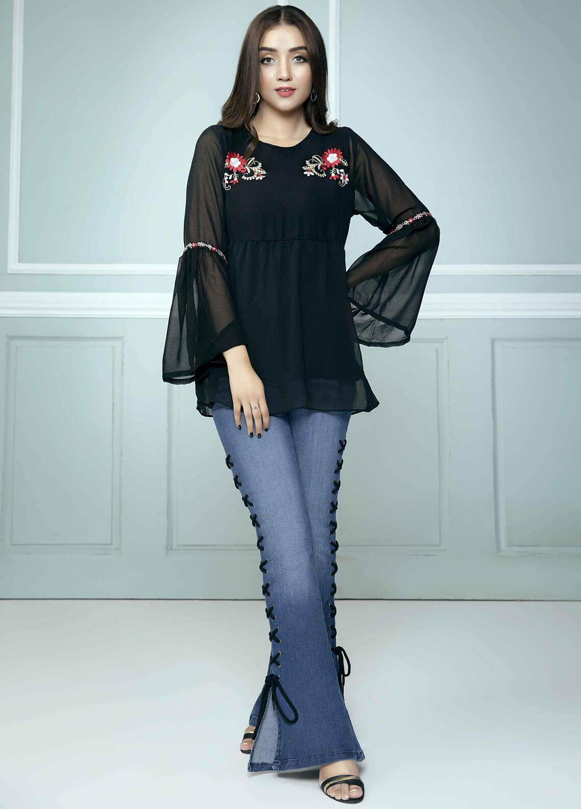 Festive Embroidered Chiffon Stitched Kurtis Bloom Top