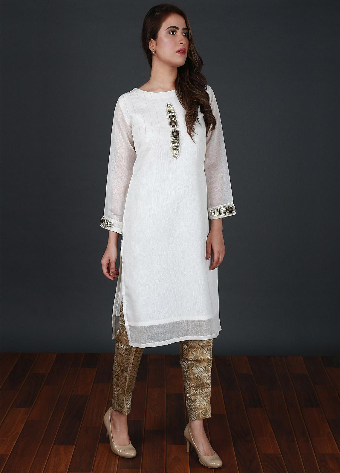 Nargis Shaheen Embroidered Cotton Net Stitched 2 Piece Suit CW-091 Pure White