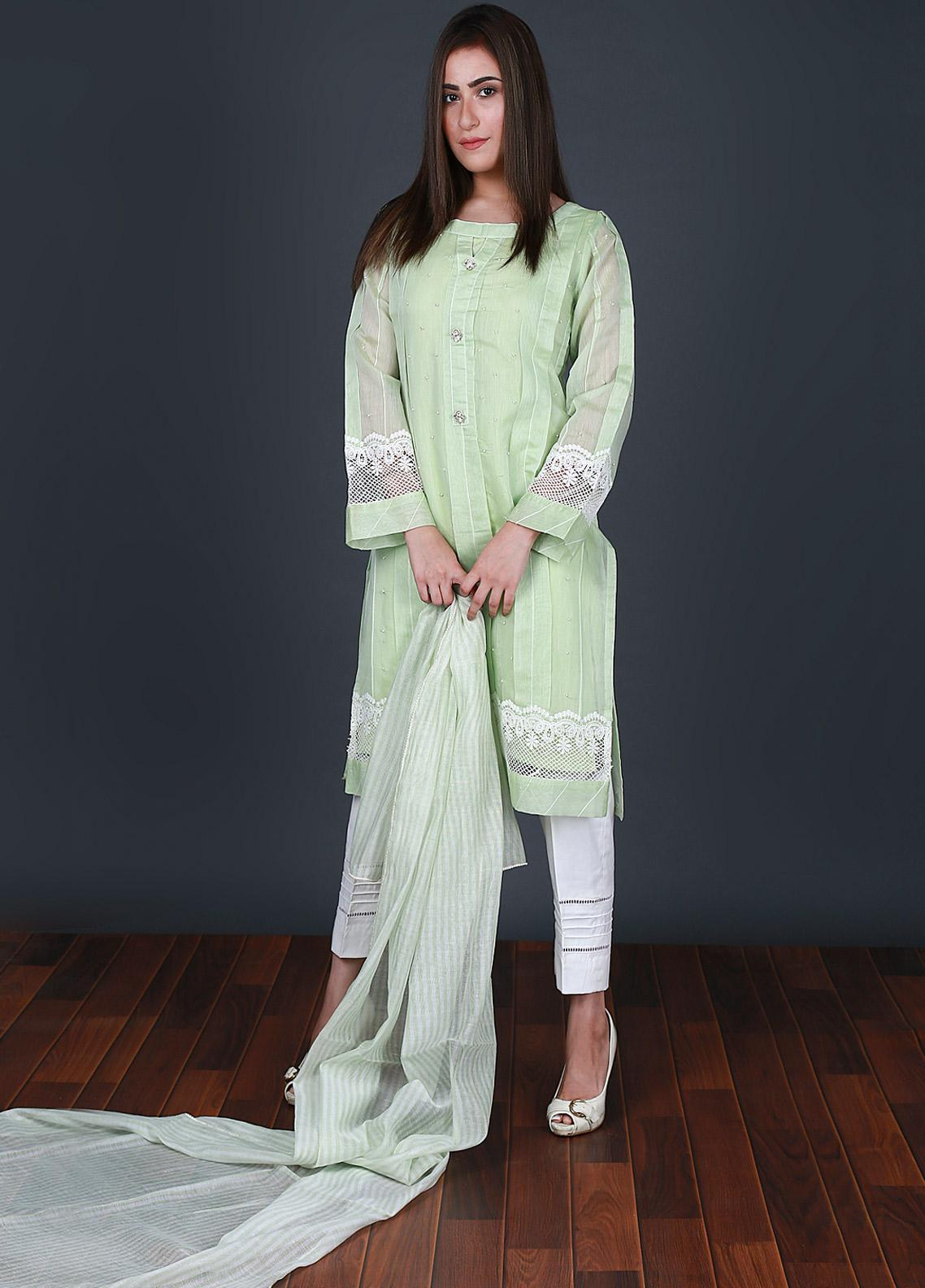 Nargis Shaheen Embroidered Cotton Net Stitched 3 Piece Suit CW-093 Green