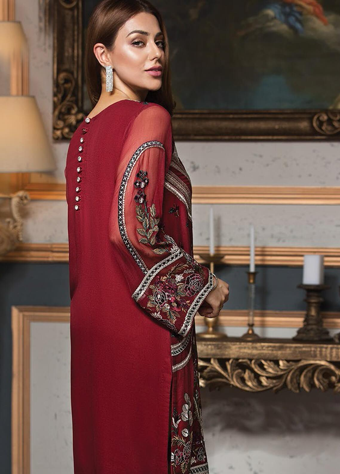 63e8ac0dbee XENIA Formals Embroidered Chiffon Stitched 2 Piece Suit XE19F 01 RED DIVINE