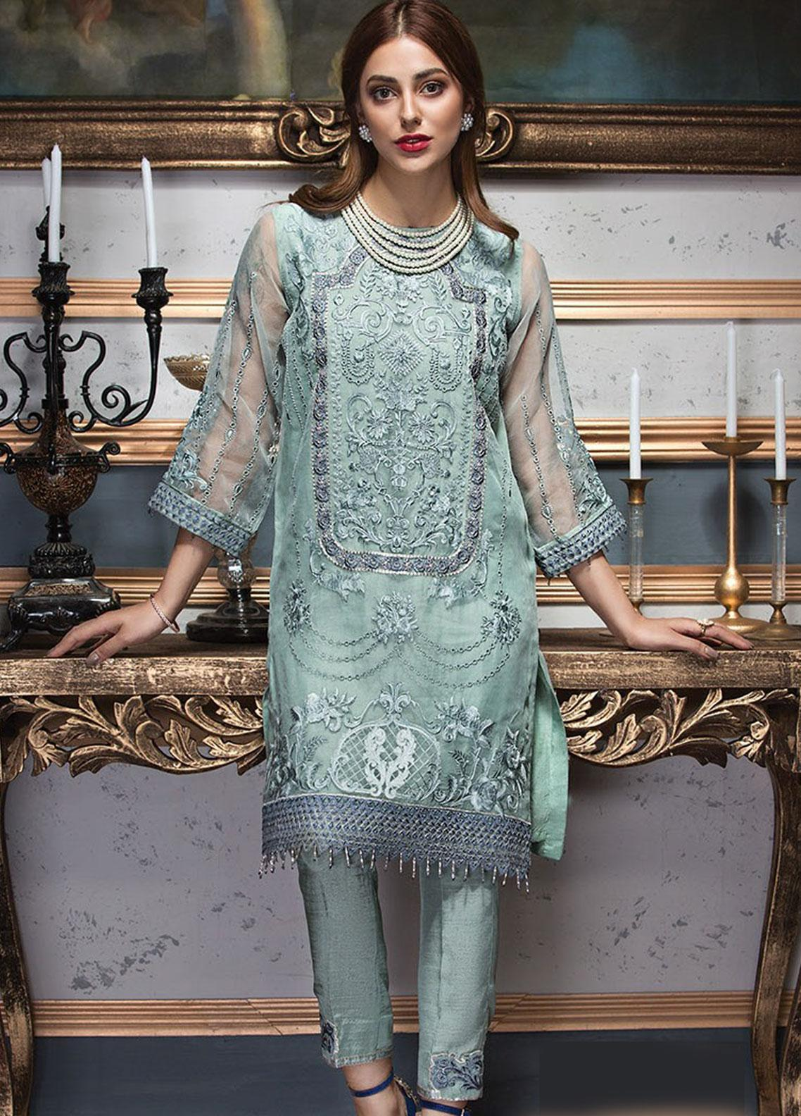 XENIA Formals Embroidered Organza Stitched 2 Piece Suit XE19F 03 OLIVE ZINNIA