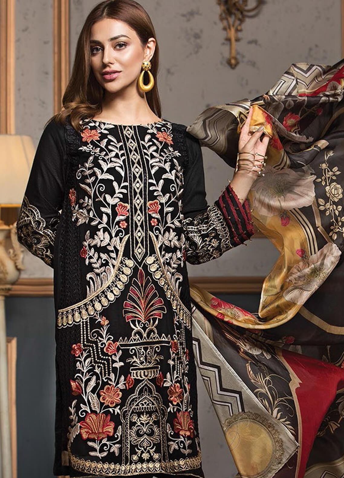 XENIA Formals Embroidered Chiffon Stitched 3 Piece Suit XE19F 04 BLACK ODYSSEY