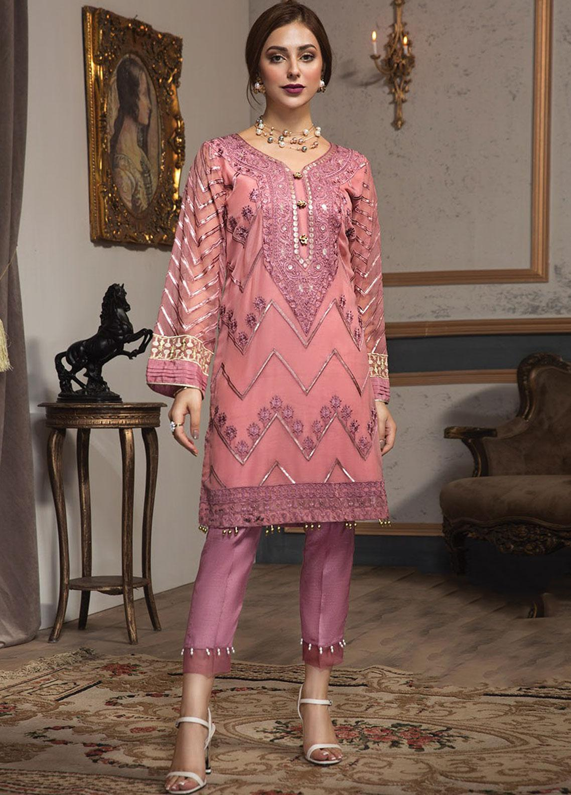 XENIA Formals Embroidered Chiffon Stitched 2 Piece Suit XE19F 06 PRISM PINK