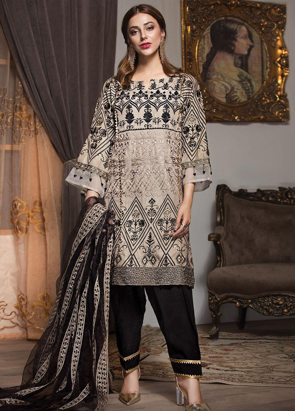 XENIA Formals Embroidered Khaadi Net Stitched 3 Piece Suit XE19F 09 MYRTLE