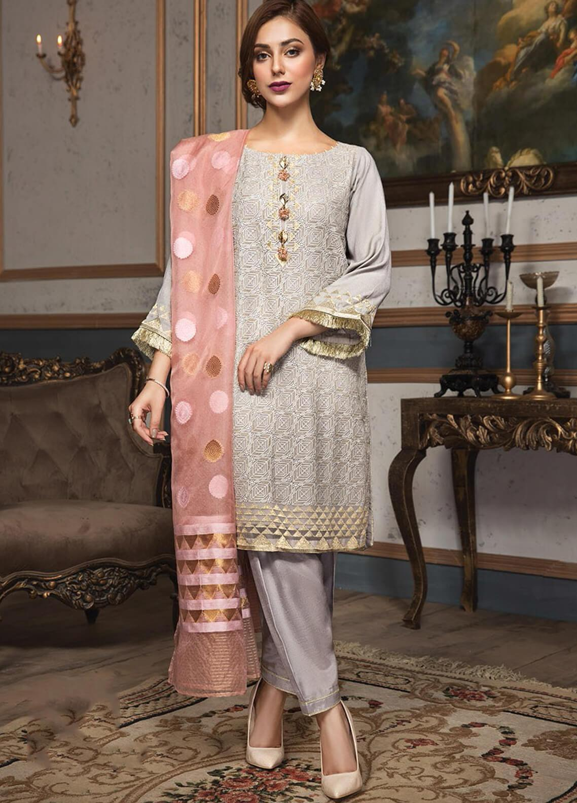 XENIA Formals Embroidered Chiffon Stitched 3 Piece Suit XE19F 10 SYMPHONY