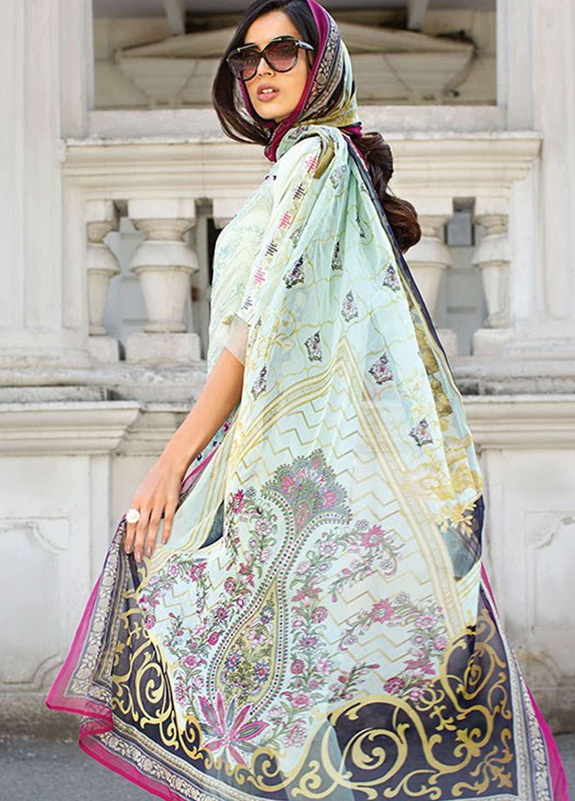 Xenia Formals Embroidered Chiffon Stitched 3 Piece Suit XE19-P5 02 PASTEL FLORET