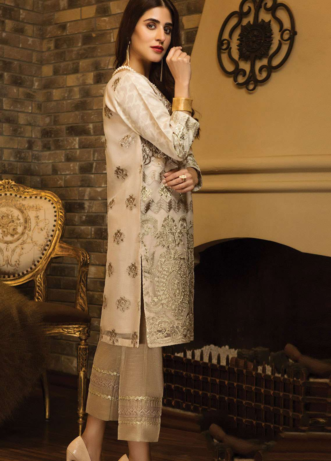 XENIA Formals Embroidered Organza Stitched 2 Piece Suit XE19-P4 04 TAN