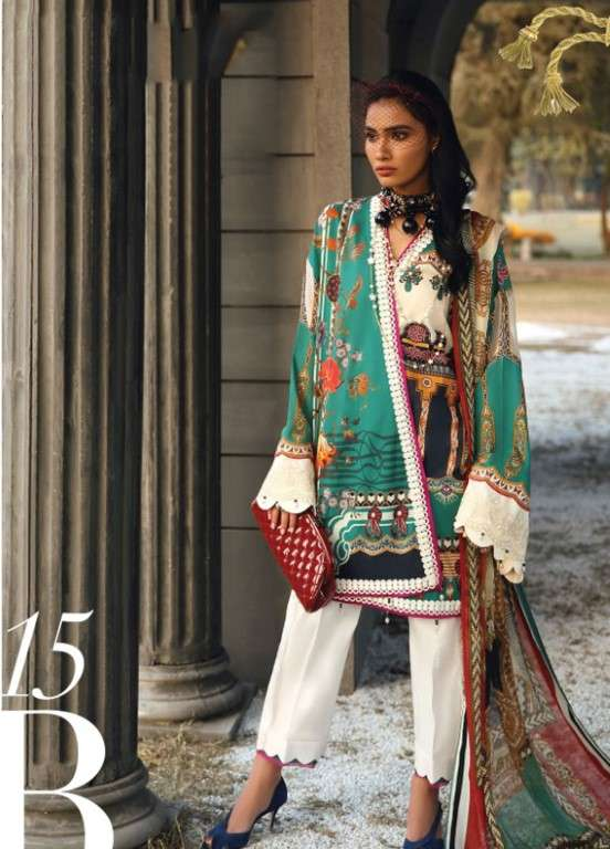 Zaha by Khadijah Shah Embroidered Lawn Unstitched 3 Piece Suit ZKS19L 15B DELPHINE - Spring / Summer Collection
