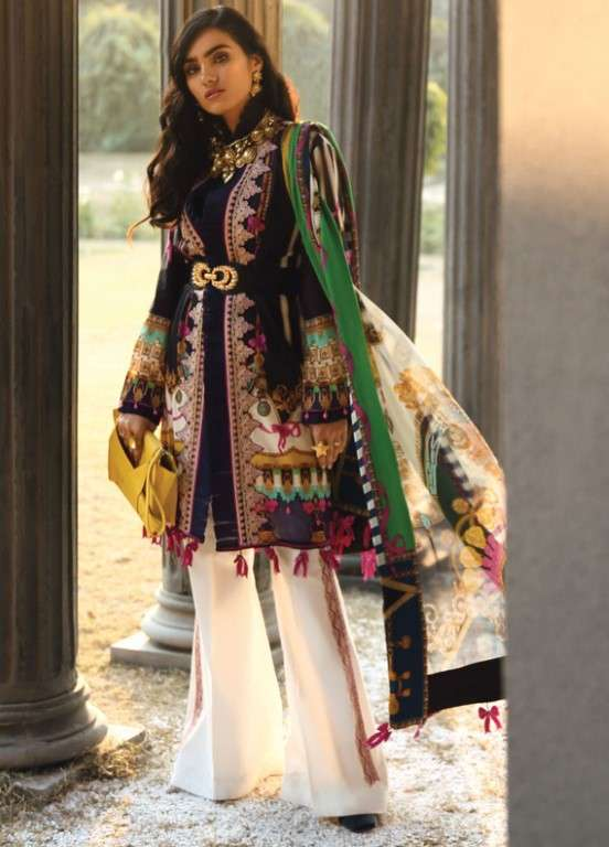 Zaha by Khadijah Shah Embroidered Lawn Unstitched 3 Piece Suit ZKS19L 17A BORITA - Spring / Summer Collection