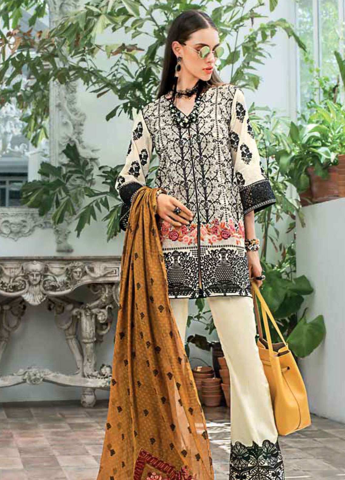 fcee21be5e0d Zainab Chottani Embroidered Chikankari Unstitched 3 Piece Suit ZC19CK 7B  BAROQUE TWIST - Luxury Collection