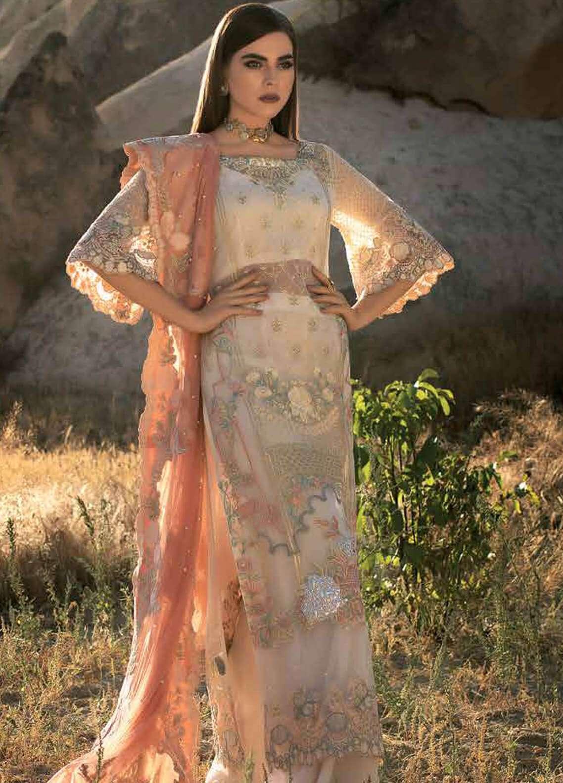 Zainab Chottani Embroidered Chiffon Unstitched 3 Piece Suit ZC18F 01 - Luxury Formal Range