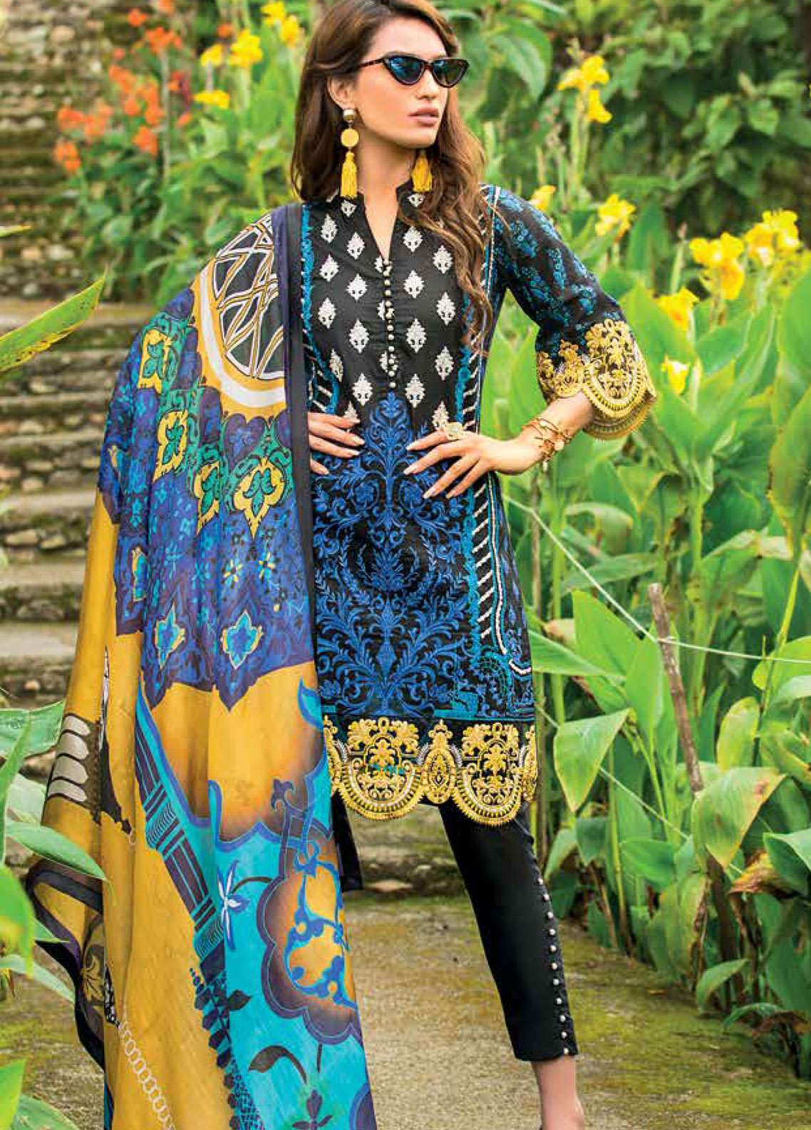 Zainab Chottani Embroidered Lawn Unstitched 3 Piece Suit ZC19L 3A DANDELION SHADOWS - Spring / Summer Collection