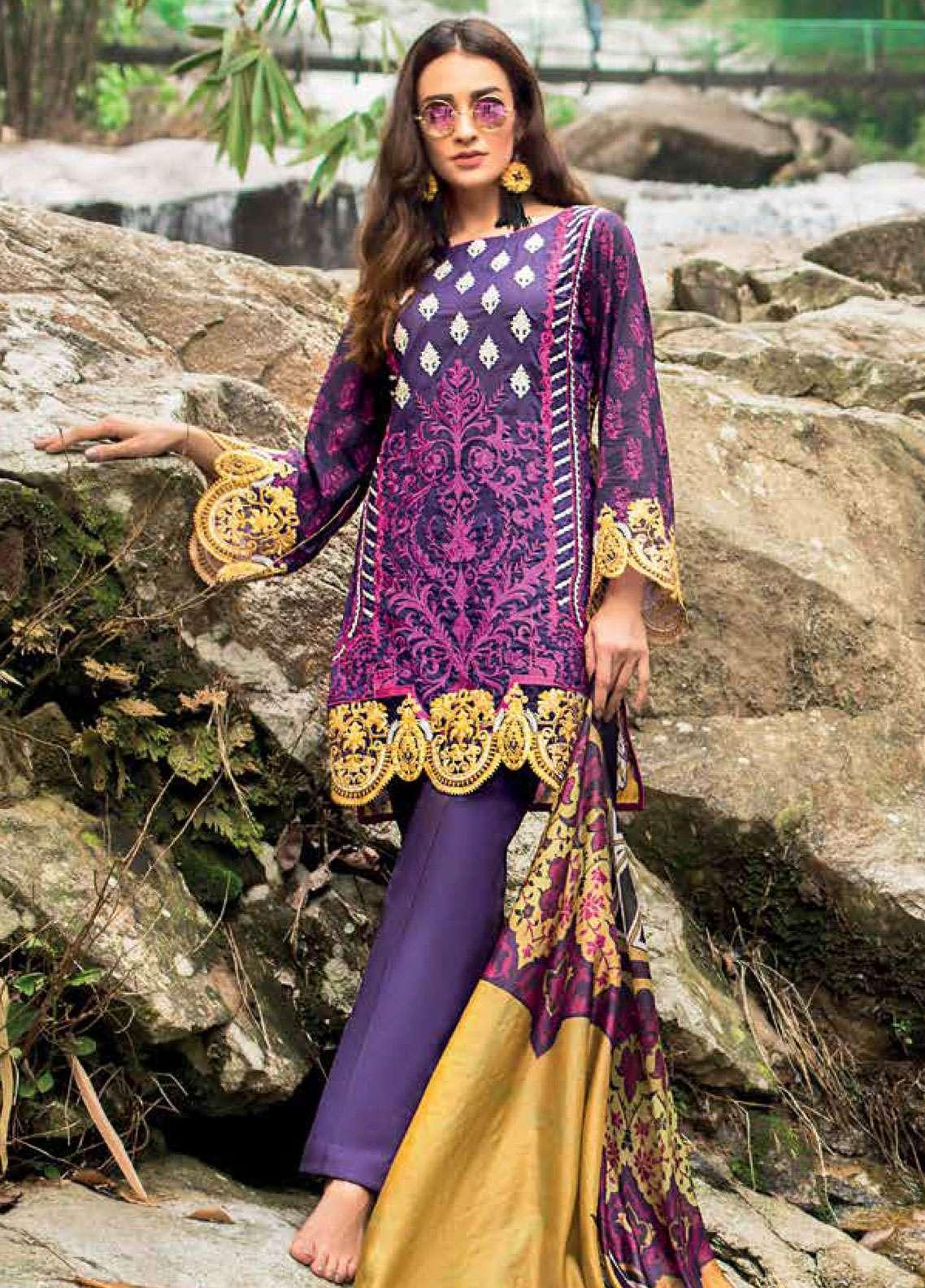 Zainab Chottani Embroidered Lawn Unstitched 3 Piece Suit ZC19L 3B DANDELION SHADOWS - Spring / Summer Collection