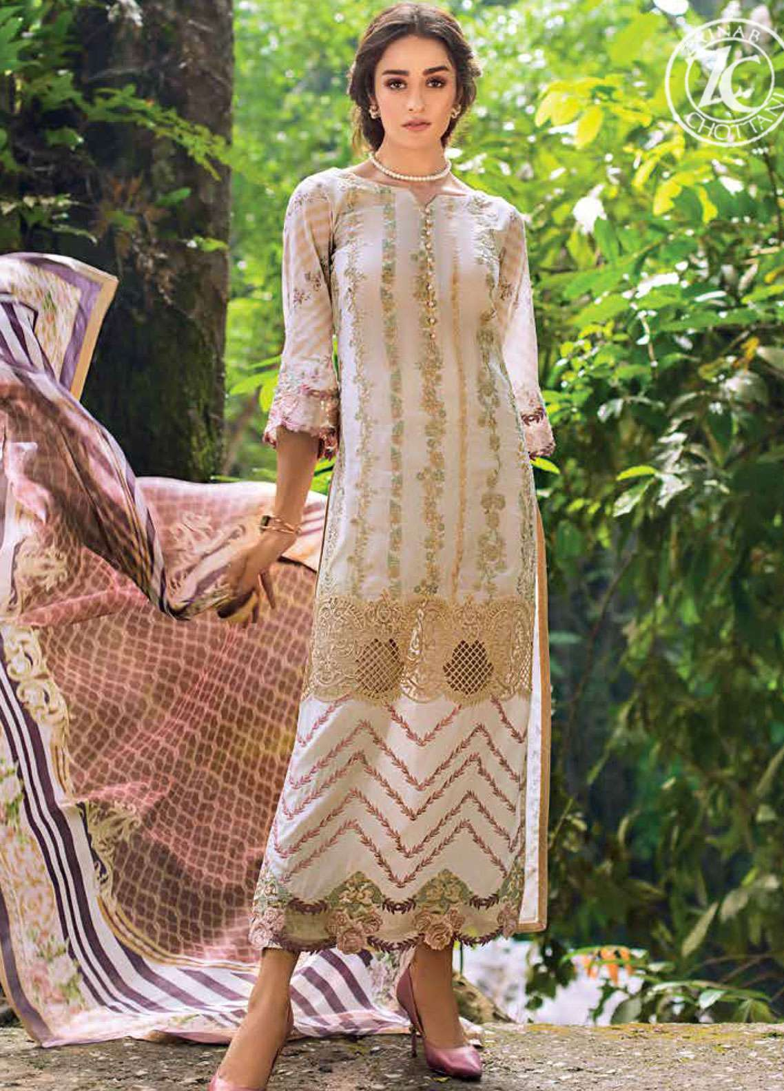 Zainab Chottani Embroidered Lawn Unstitched 3 Piece Suit ZC19L 4A ENCHANTED ROSE - Spring / Summer Collection