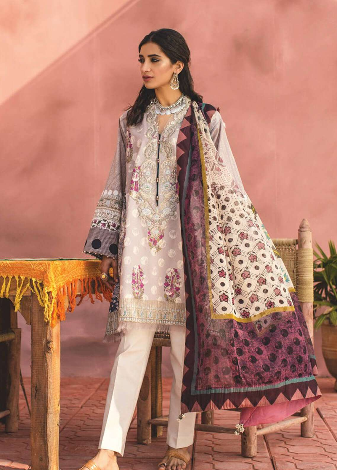 Zara Shahjahan Embroidered Lawn Unstitched 3 Piece Suit ZSJ19L SAHARA B - Spring / Summer Collection