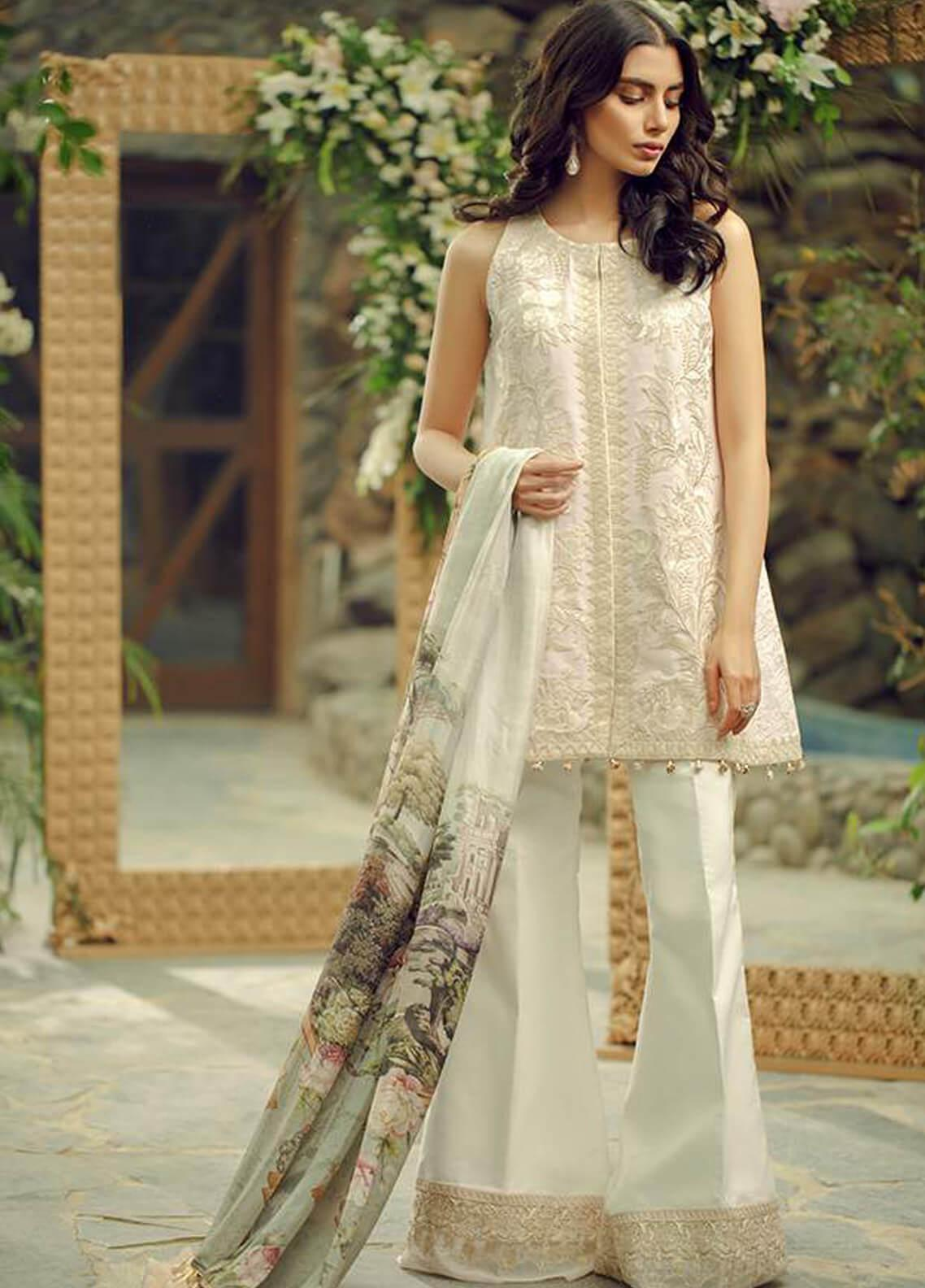 Zarqash Embroidered Lawn Unstitched 3 Piece Suit ZRQ19L 1B - Festive Collection
