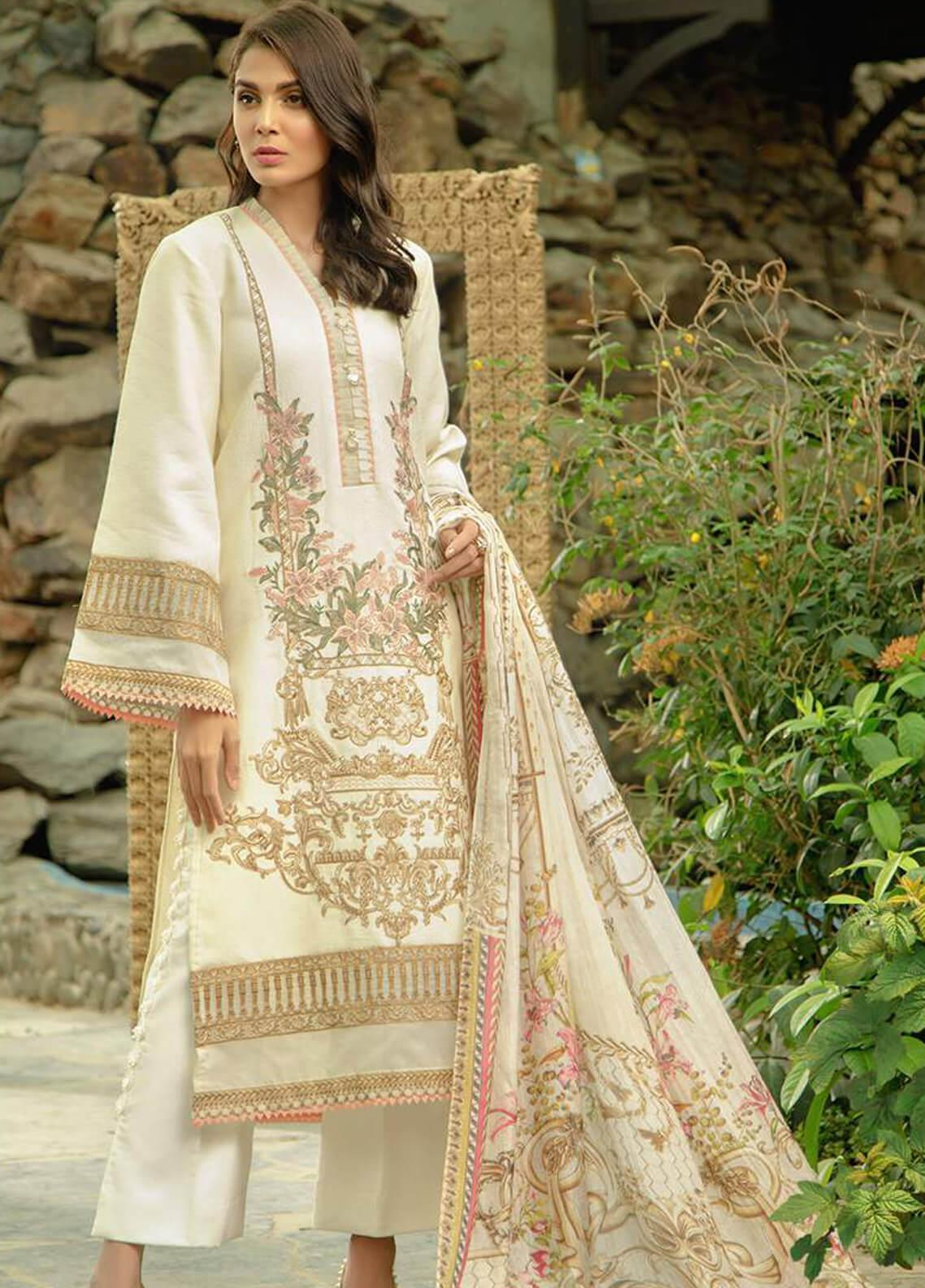 Zarqash Embroidered Lawn Unstitched 3 Piece Suit ZRQ19L 2A - Festive Collection