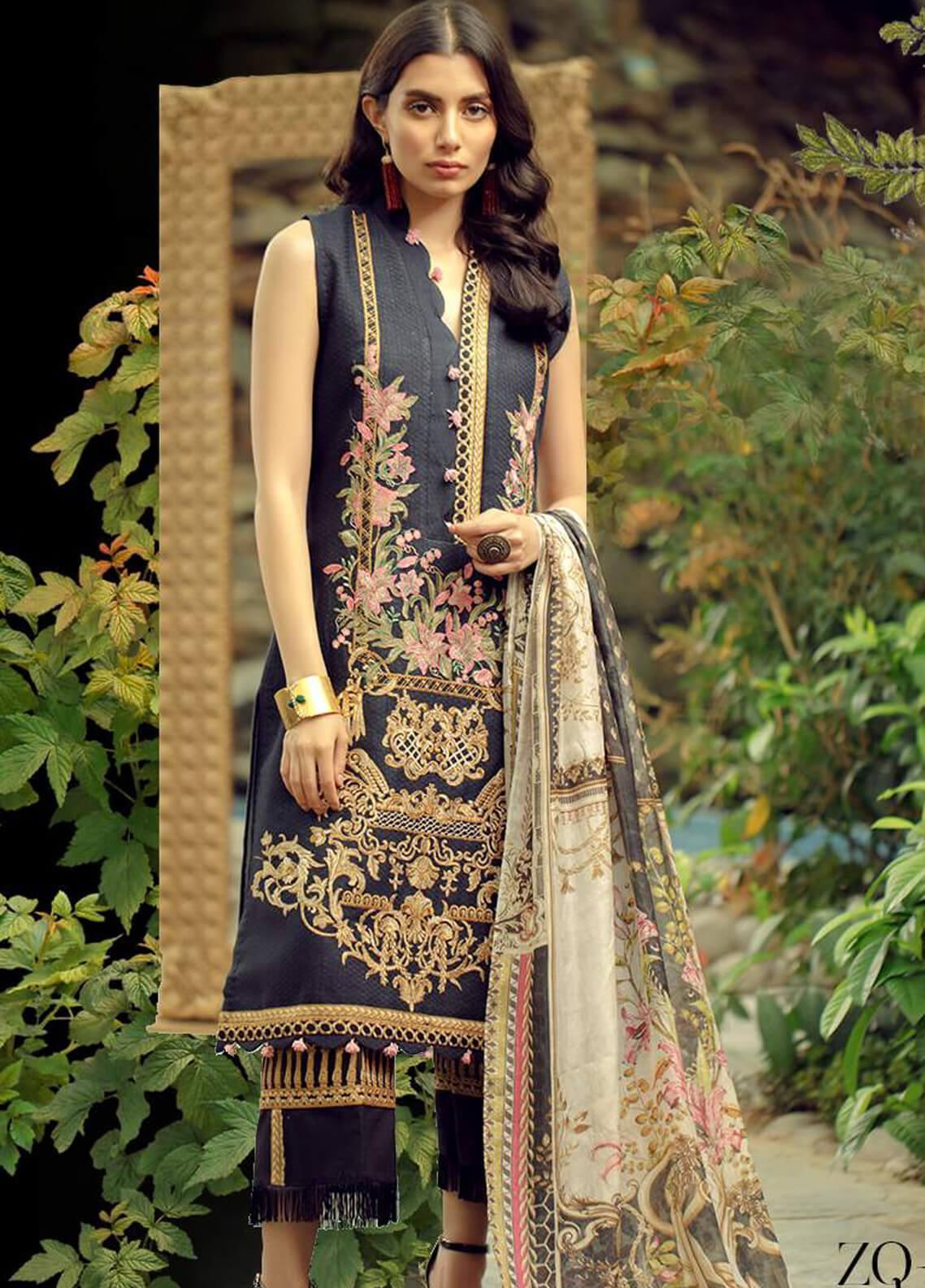 Zarqash Embroidered Lawn Unstitched 3 Piece Suit ZRQ19L 2B - Festive Collection