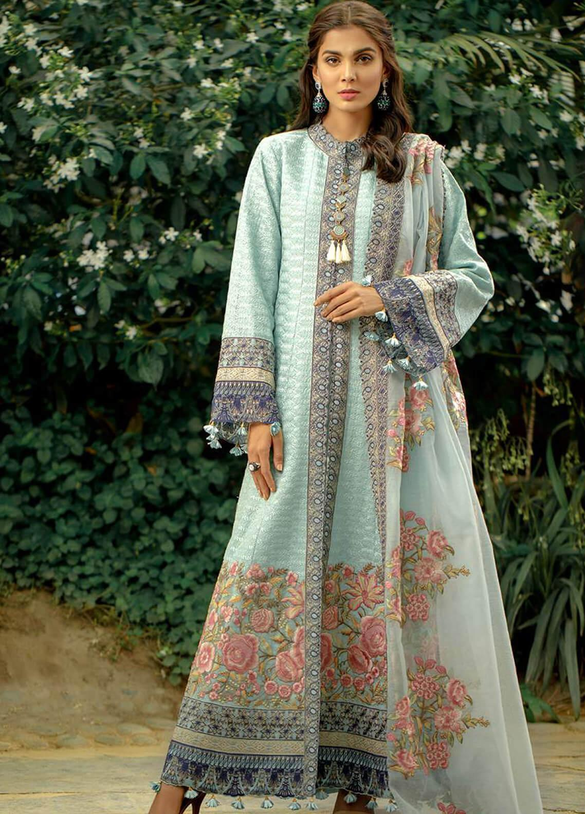Zarqash Embroidered Lawn Unstitched 3 Piece Suit ZRQ19L 3A - Festive Collection