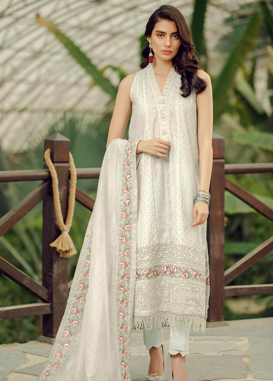 Zarqash Embroidered Lawn Unstitched 3 Piece Suit ZRQ19L 4B - Festive Collection