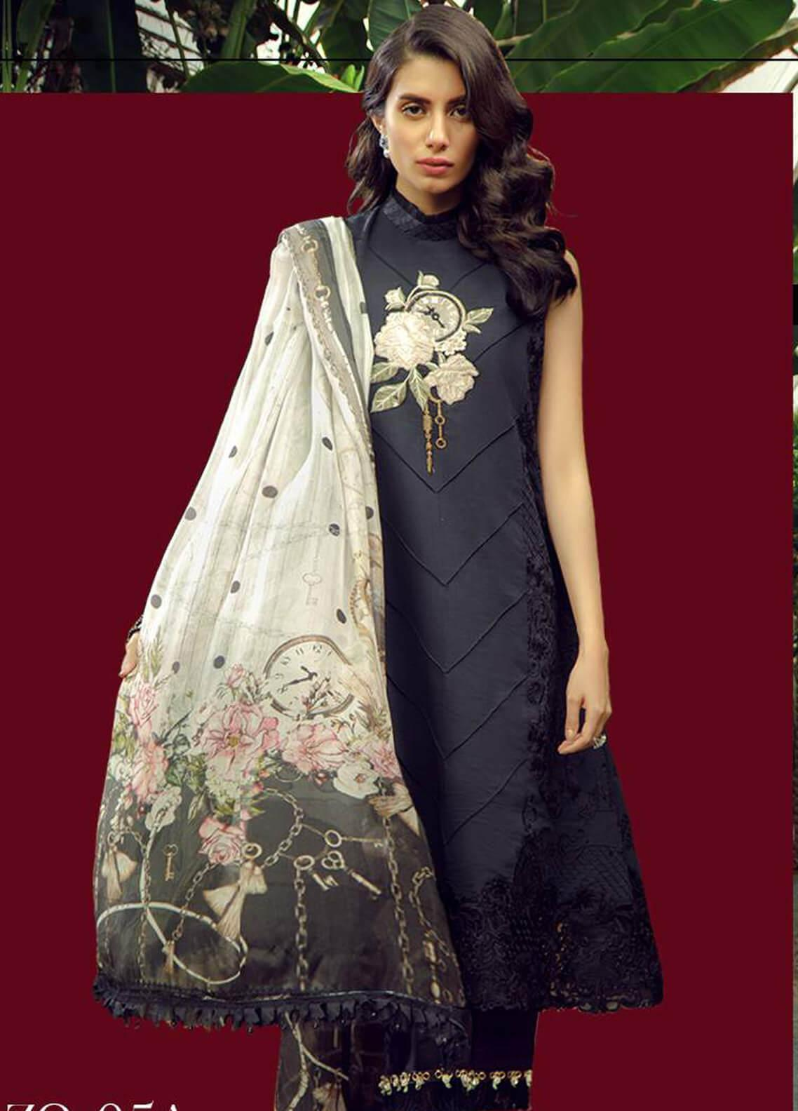 Zarqash Embroidered Lawn Unstitched 3 Piece Suit ZRQ19L 5A - Festive Collection