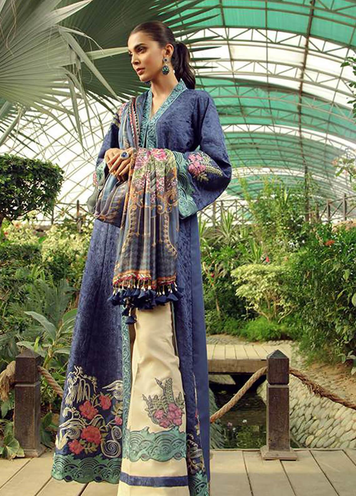 Zarqash Embroidered Lawn Unstitched 3 Piece Suit ZRQ19L 6A - Festive Collection