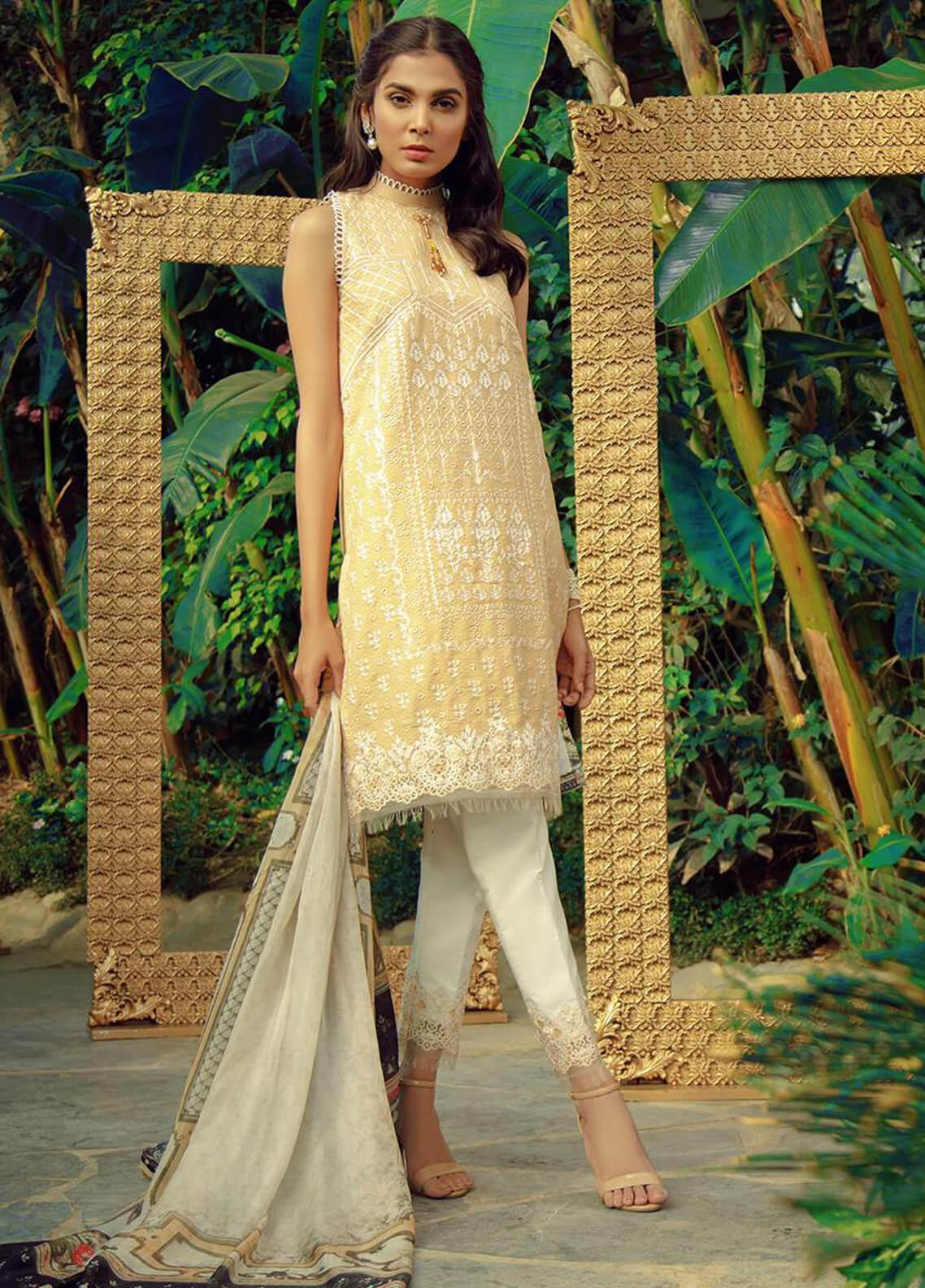 Zarqash Embroidered Lawn Unstitched 3 Piece Suit ZRQ19L 7A - Festive Collection