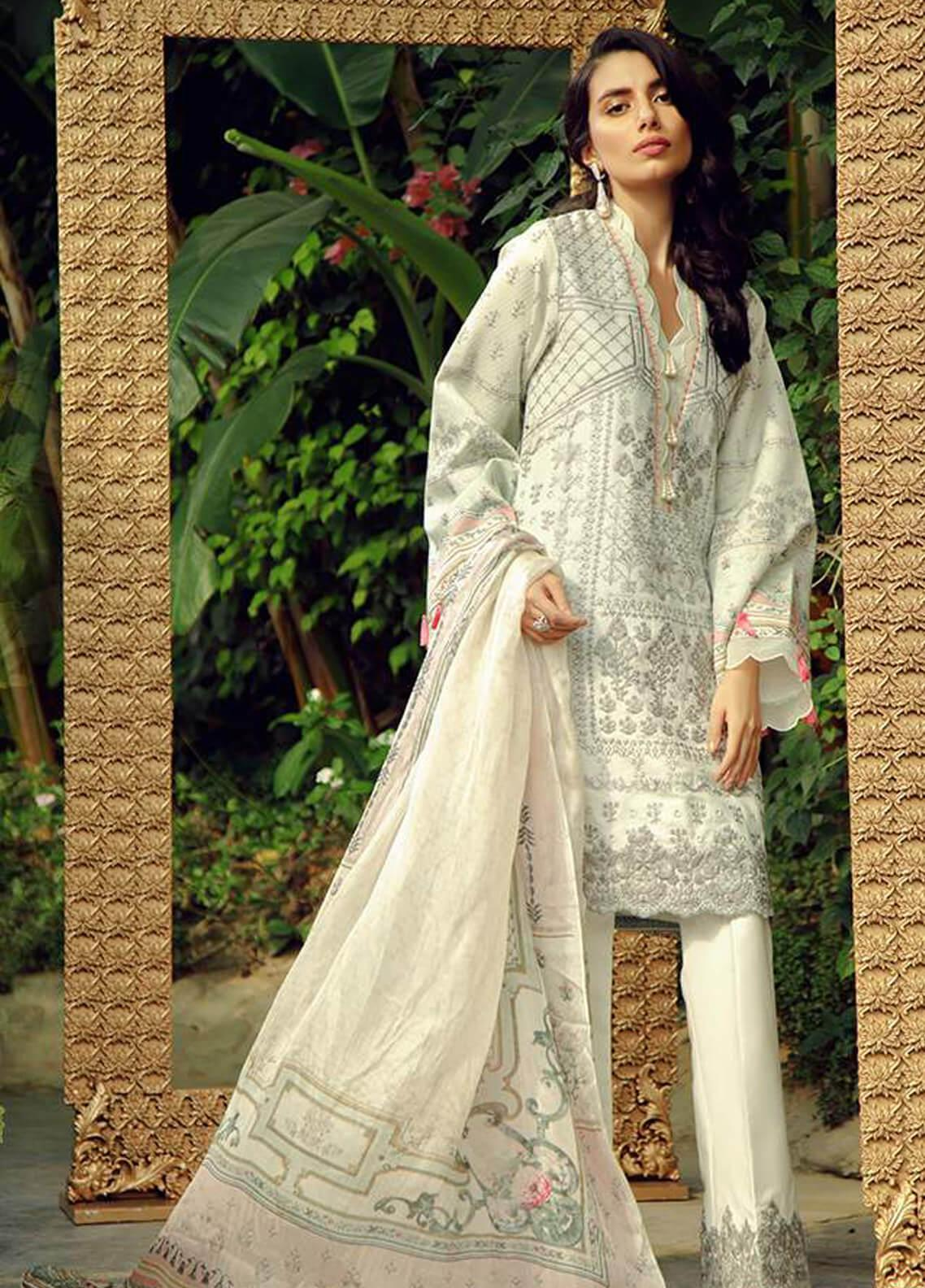 Zarqash Embroidered Lawn Unstitched 3 Piece Suit ZRQ19L 7B - Festive Collection