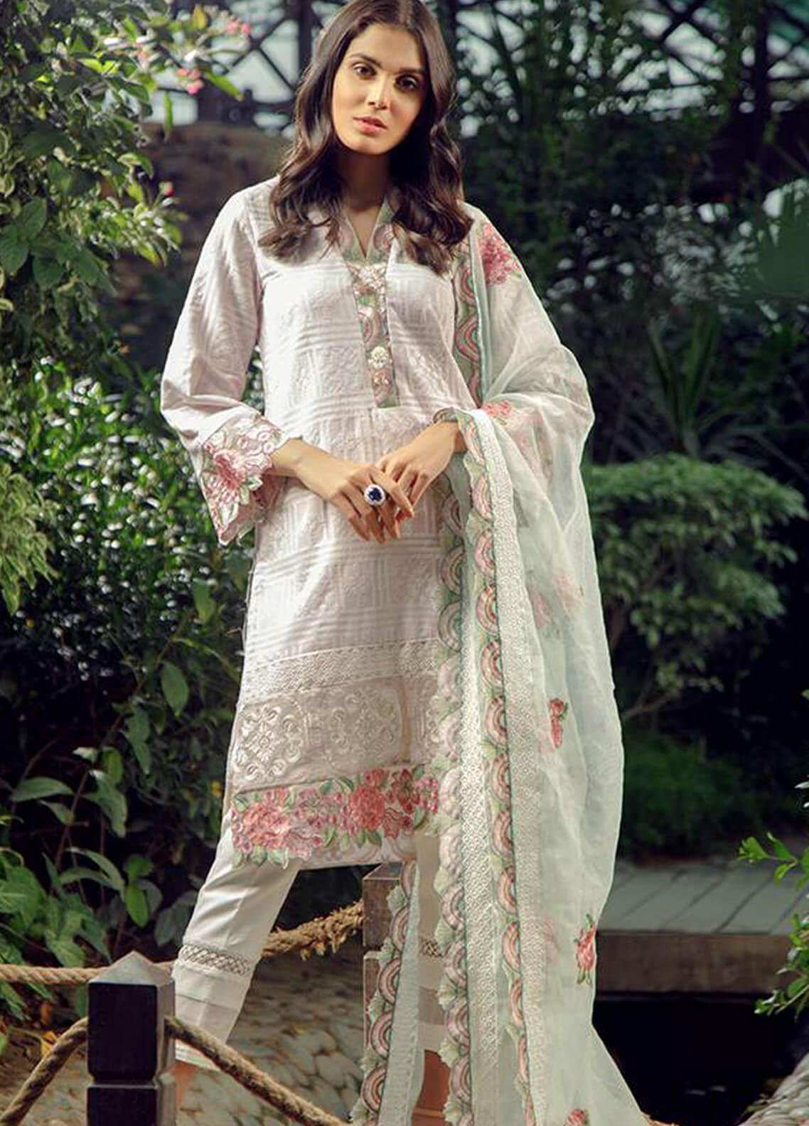 Zarqash Embroidered Lawn Unstitched 3 Piece Suit ZRQ19L 9 - Festive Collection