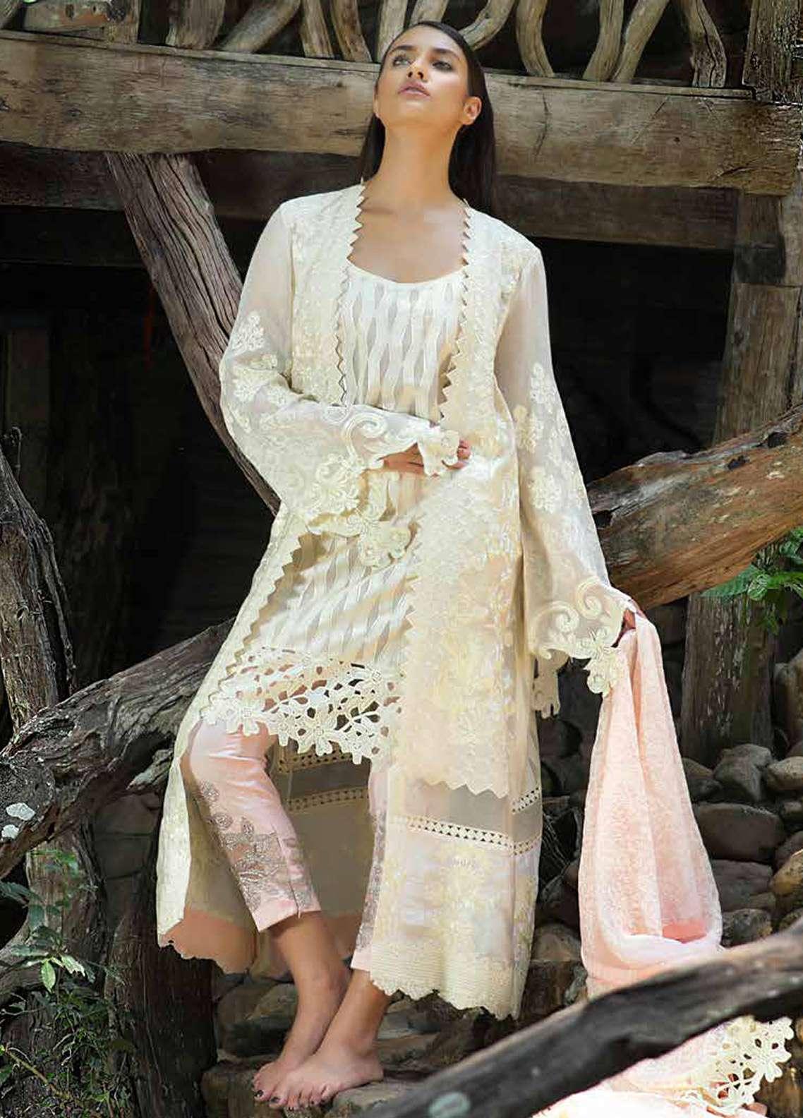 Zunuj Embroidered Cotton Net Unstitched 3 Piece Suit ZJ18F 05 - Eid Collection