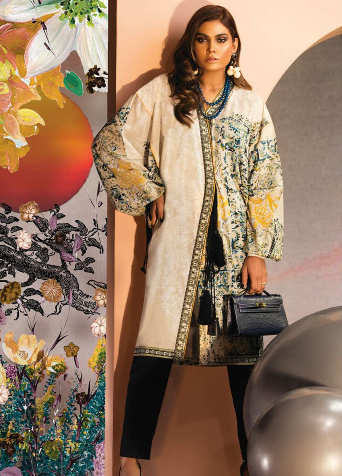 Zaha by Khadijah Shah Embroidered Lawn Unstitched Kurties ZKS18L 3B - Summer Collection