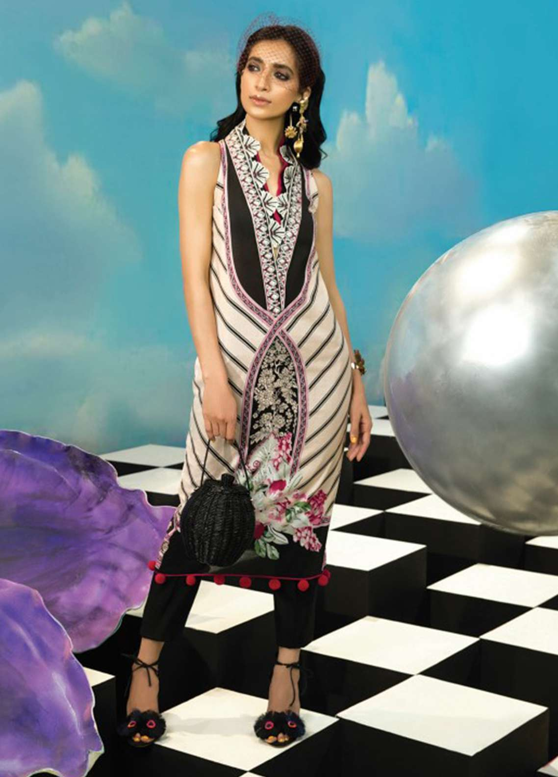Zaha by Khadijah Shah Embroidered Lawn Unstitched Kurties ZKS18L 4B - Summer Collection