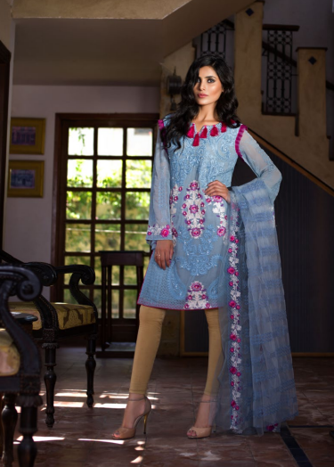 Veena Durrani Embroidered Chiffon Unstitched 2 Piece Suit ZO17C 11A
