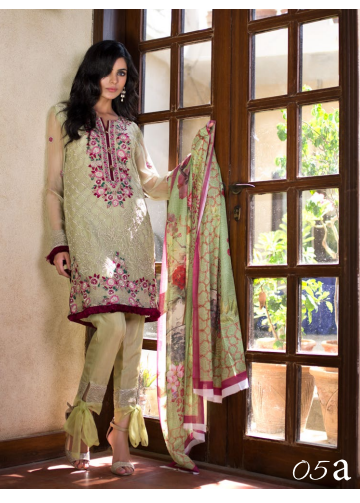 Veena Durrani Embroidered Chiffon Unstitched 2 Piece Suit ZO17C 5A