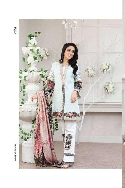 Zarqash Embroidered Lawn Unstitched 3 Piece Suit ZQ17L 2A
