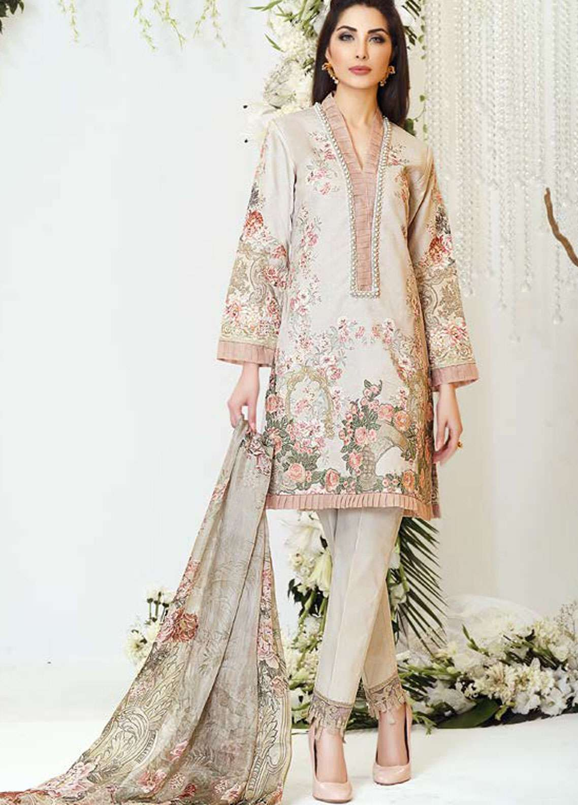 Zarqash Embroidered Lawn Unstitched 3 Piece Suit ZQ18L 7B - Spring / Summer Collection