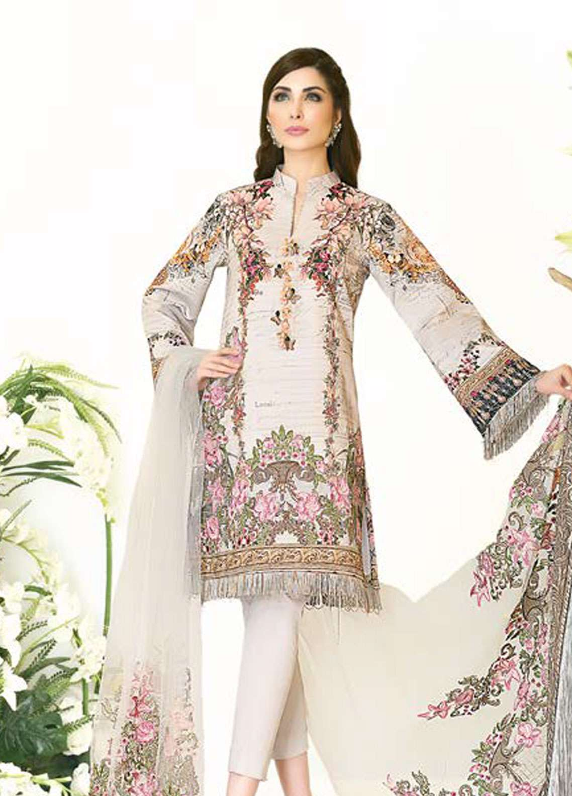 Zarqash Embroidered Lawn Unstitched 3 Piece Suit ZQ18L 8B - Spring / Summer Collection