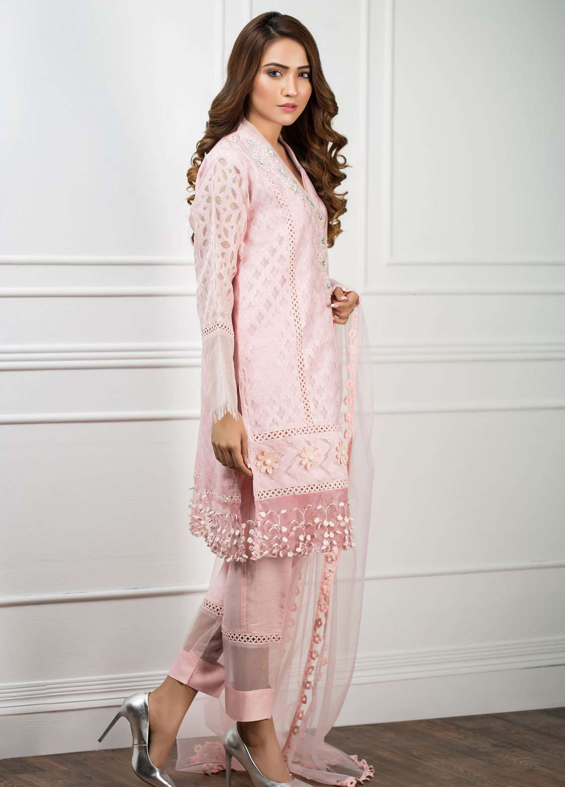 Zujaaj Embroidered Organza Stitched 3 Piece Suit ZJ-134 Powder Pink