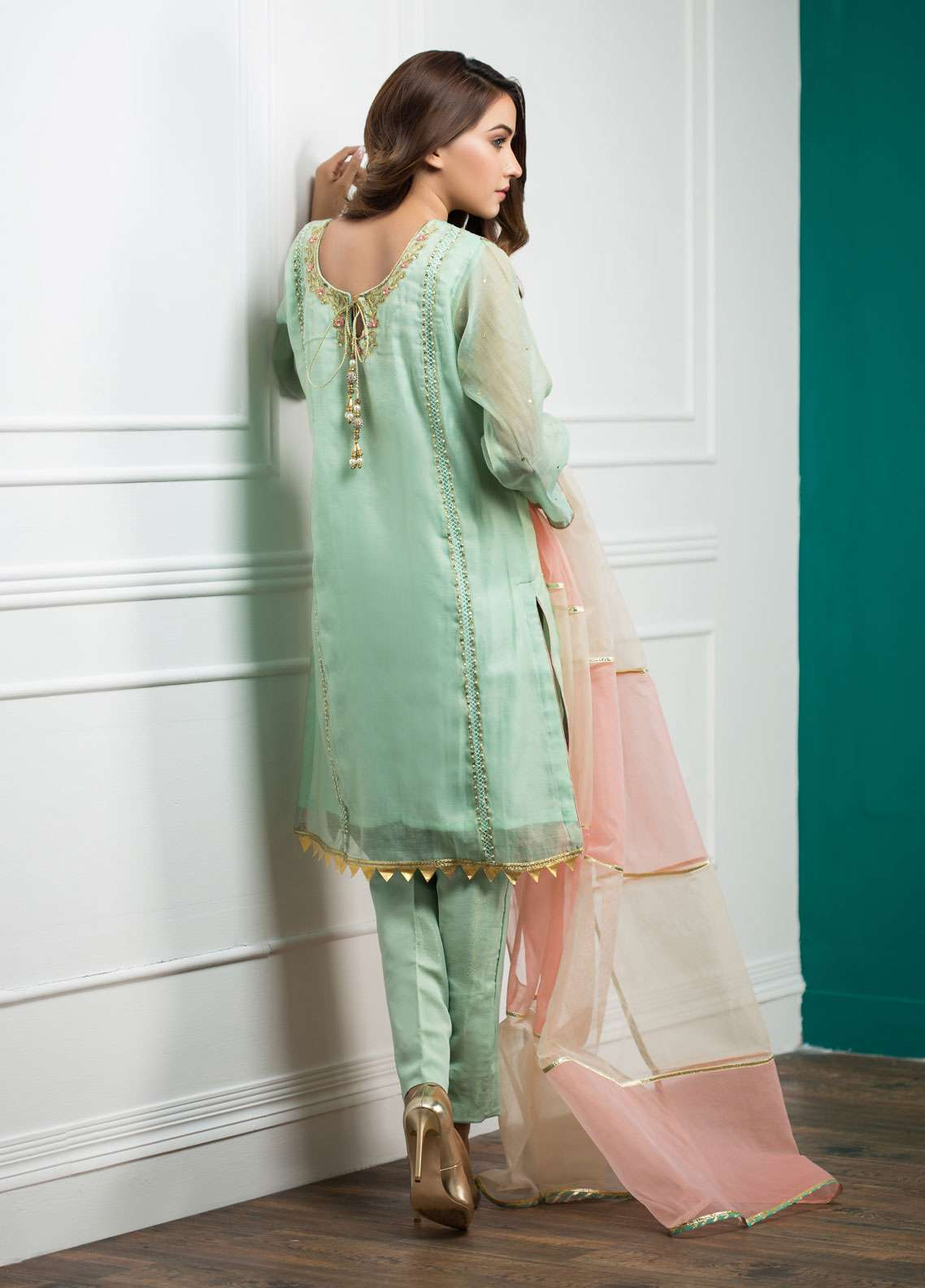 Zujaaj Embroidered Cotton Stitched 3 Piece Suit ZJ-135 Turqoise