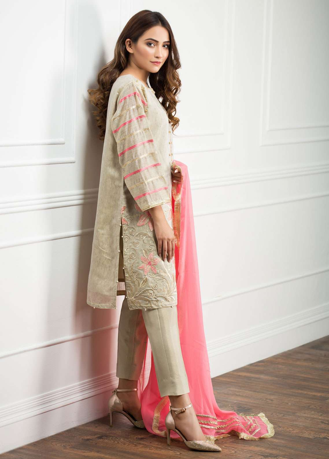 Zujaaj Embroidered Organza Stitched 3 Piece Suit ZJ-136 Grey