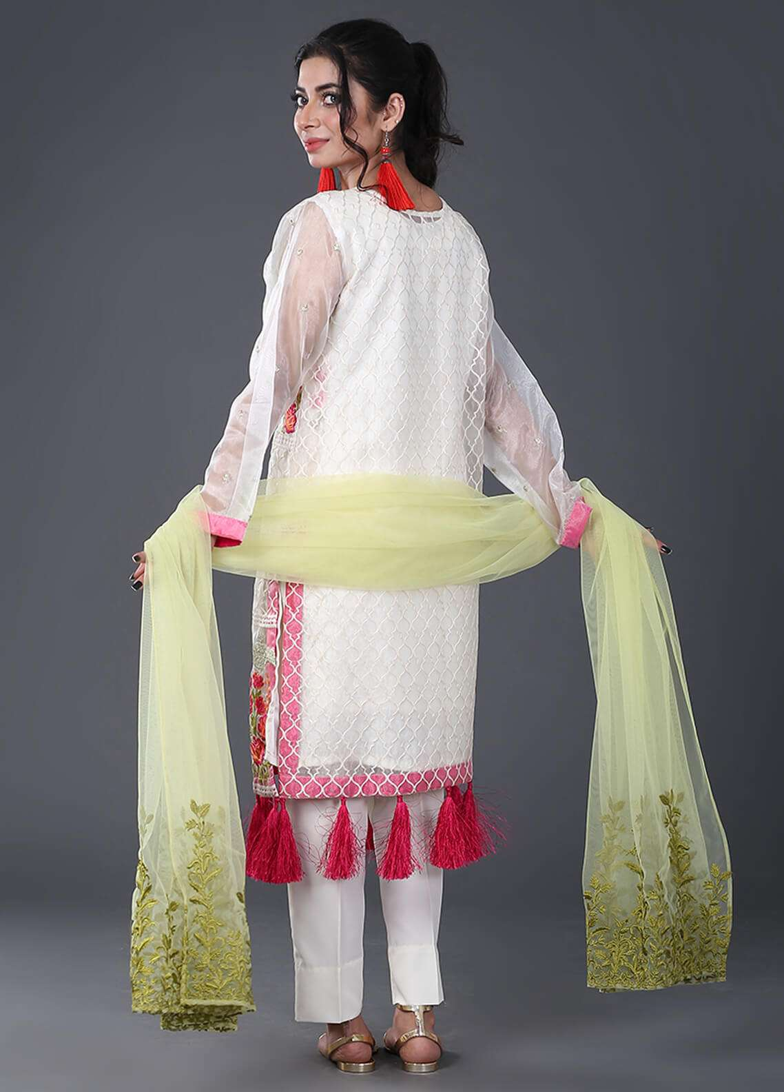 Zujaaj Embroidered  Stitched 3 Piece Suit ZJ-03 Off White
