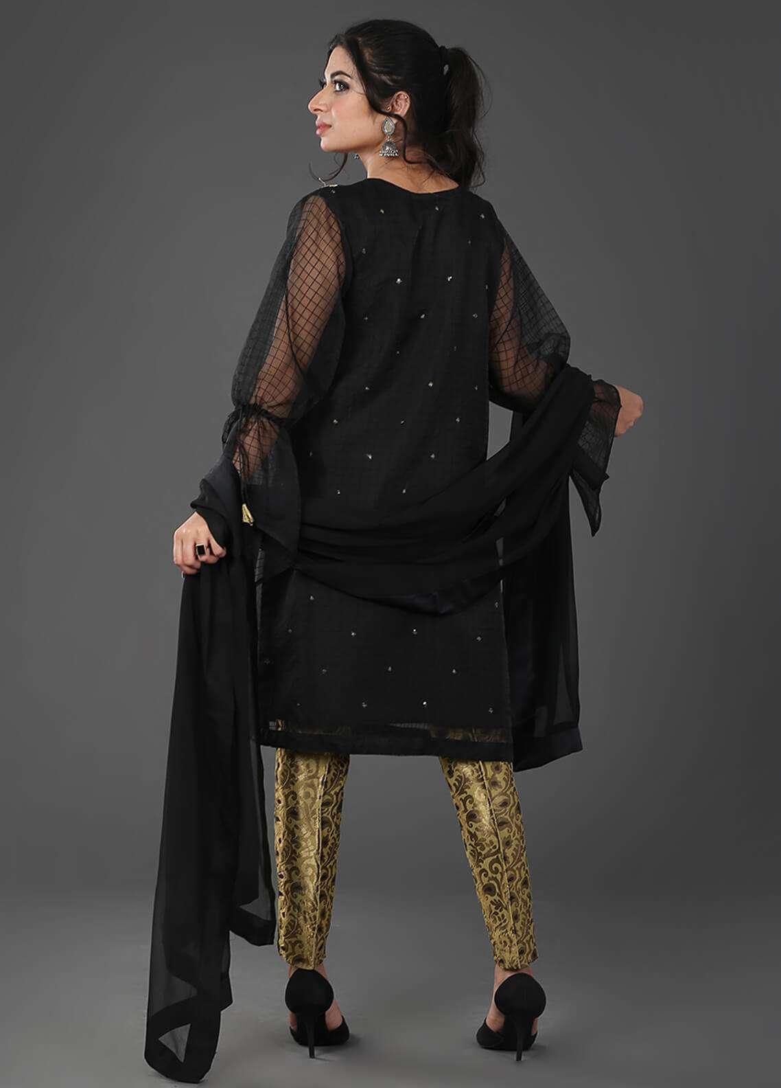 Zujaaj Embroidered  Stitched 3 Piece Suit ZJ-06 Black