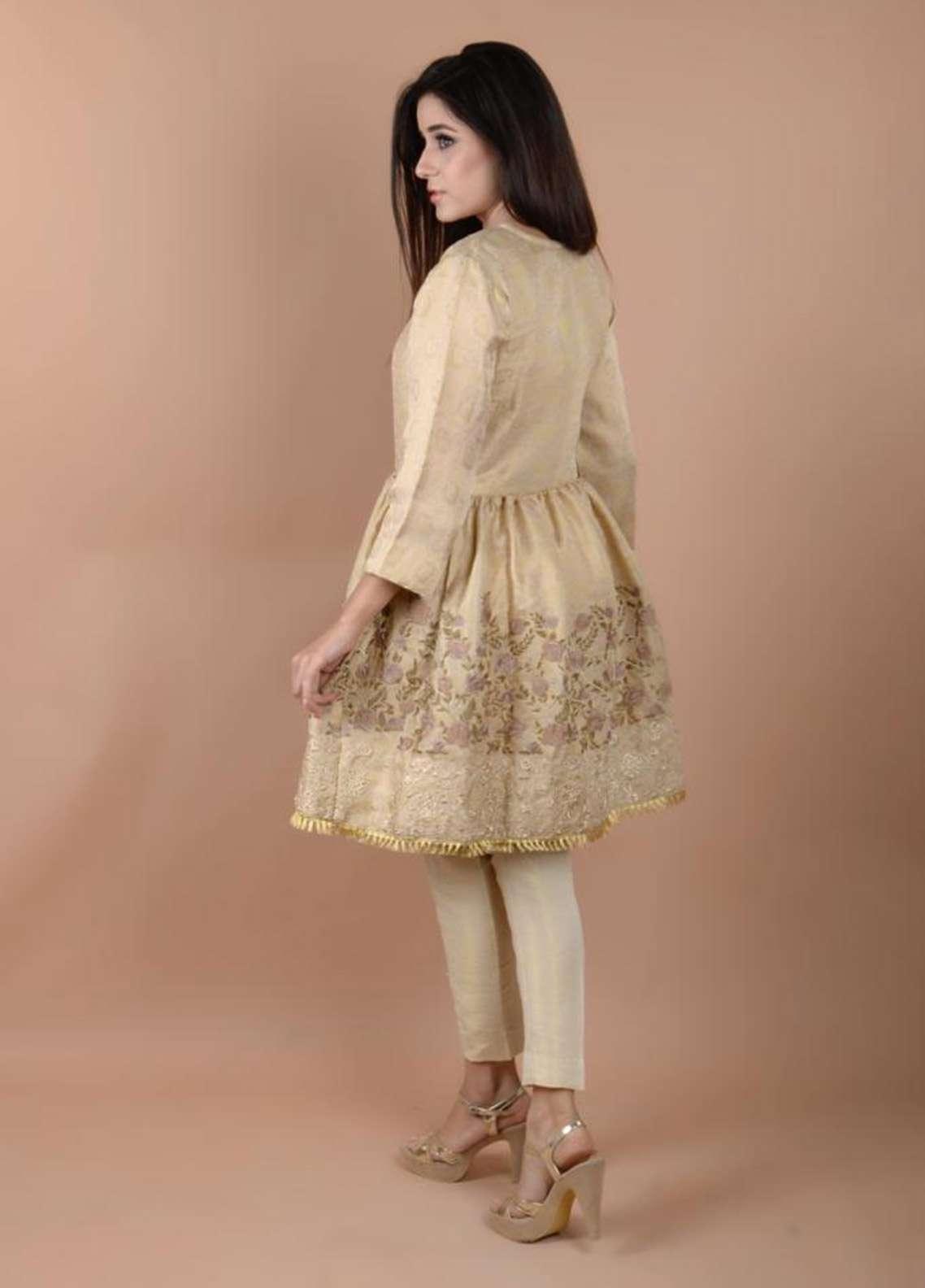 Zujaaj Embroidered Cotton Net Stitched 2 Piece Suit ZJ-128 Golden