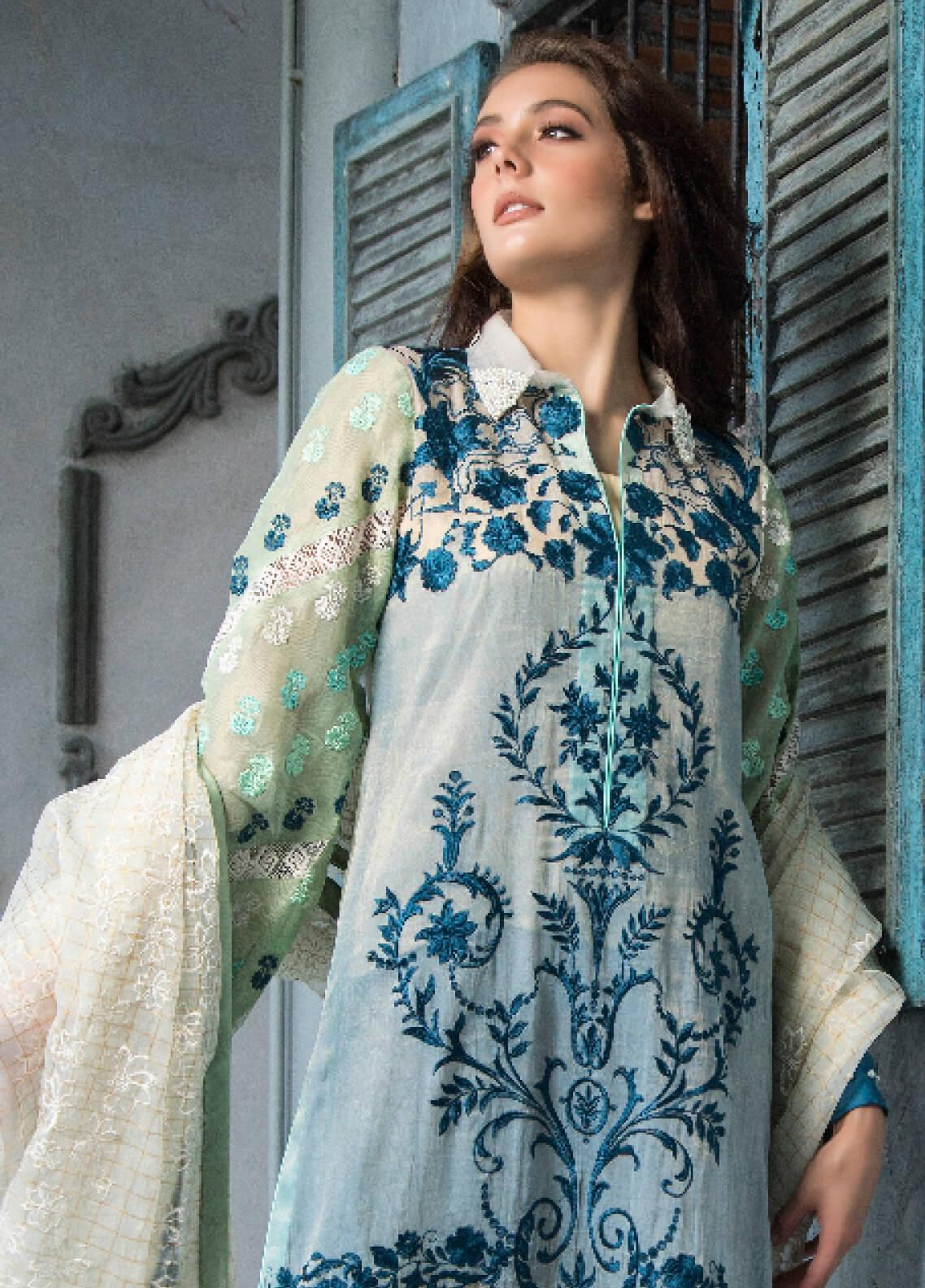 ZUNUJ Embroidered Lawn Unstitched 3 Piece Suit ZJ19F 03 - Festive Collection
